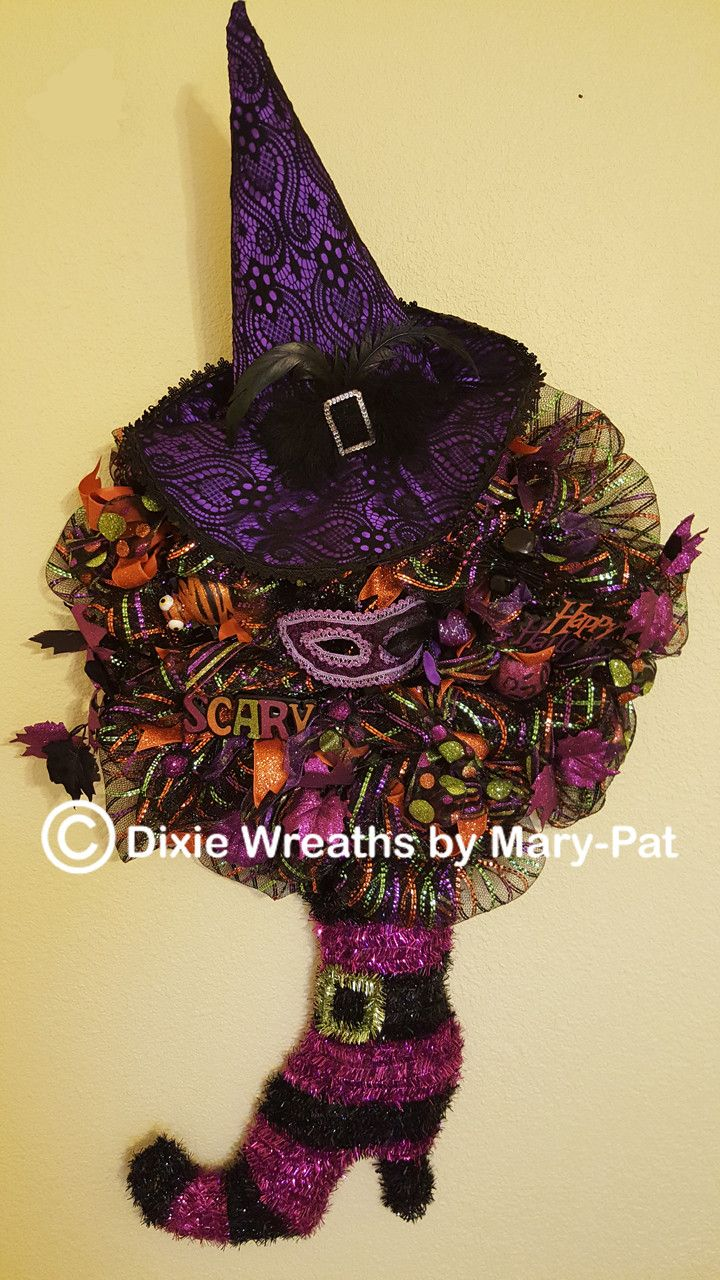 7. Large Witch's Purple Boot and Hat Wreath
