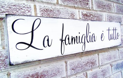 "Italian saying sign ""La Famiglia e Tutto"" translated means The Family is everything, Italian kitchen art, Italian mother, Italy, sayings"