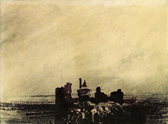Image: Victor Hugo - Feudal Ruins (ink wash on paper)