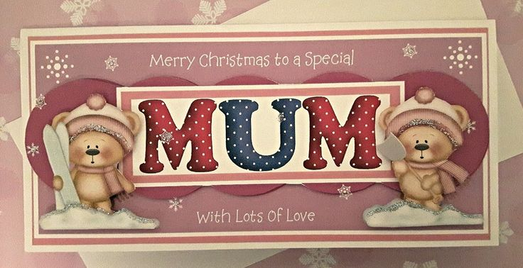 Christmas card for Special Mum with 3D winter teddies