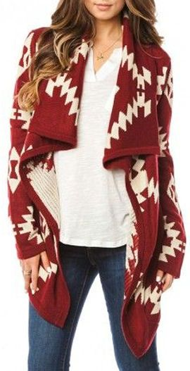 Aztec Cardigan in Burgundy