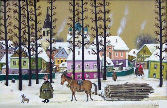 by Valentin Gubarev (b1948 In Nizhny Novgorod) | Зима в провинции
