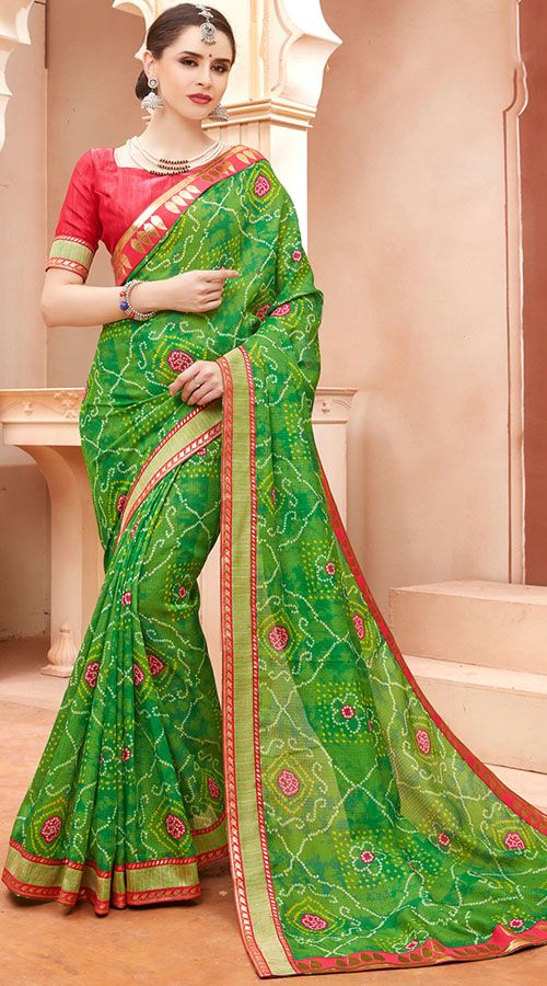 01d429183ac24 Cotton Silk Green Bandhani Saree With Contrast Blouse TK5459502 in ...