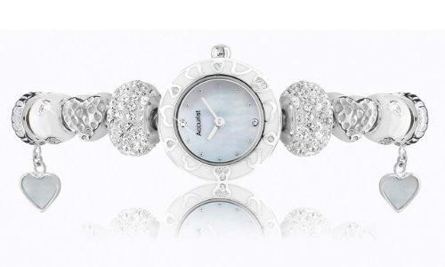 ACCURIST CHARMED WHITE ORCHID SILVER PLATED LB1465W WATCH