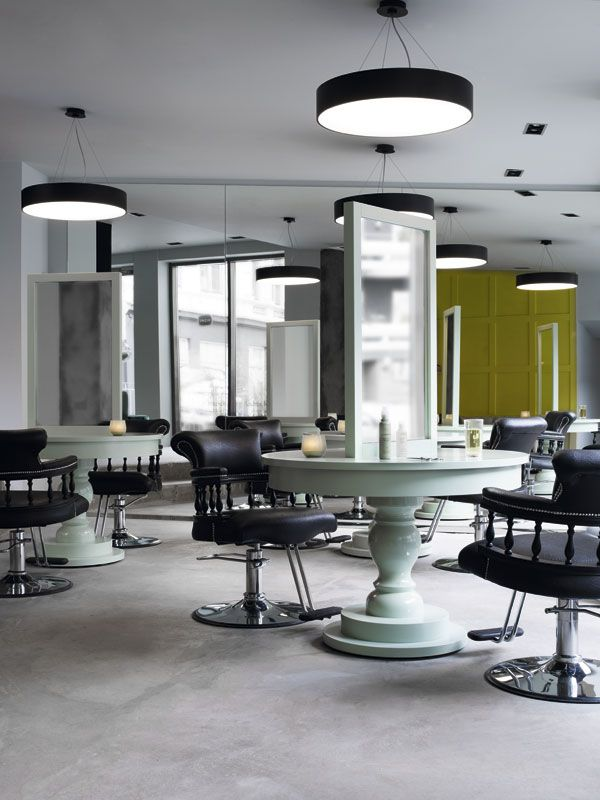Hege in France INCH hair salon. Love the set up, furniture, colors,  Salon  DesignSalon Interior ...