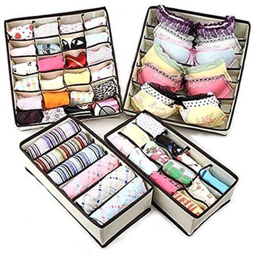 Sorbus Set of 4 Foldable Drawer Dividers, Storage Boxes, Closet Organizers, Under Bed Organizer, for Clothing, Shoes, Underwear, Bra, Socks GGI INTERNATIONAL http://smile.amazon.com/dp/B00KFPZ5X2/ref=cm_sw_r_pi_dp_YG95ub18N1GZJ