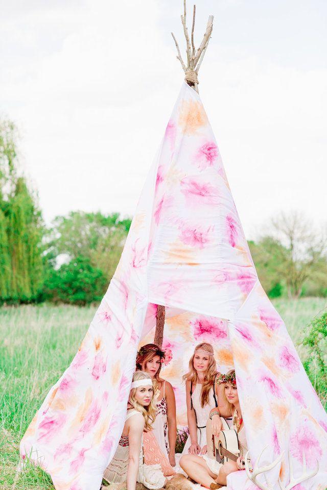 Pink teepee | Cassandra Photo | see more on: http://burnettsboards.com/2014/08/bohemian-bridal-shower-smitten-magazine/