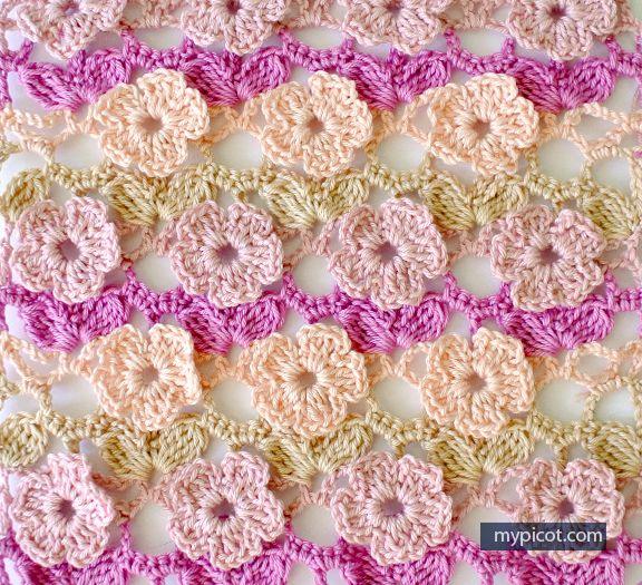 Learn A New Crochet Stitch: 5 Petal Flowers Crochet Stitch - http://www.dailycrochet.com/learn-a-new-crochet-stitch-5-petal-flowers-crochet-stitch/