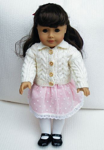 Ravelry: Maryfairy's Cream Large Cable Cardigan for American Girl with pattern