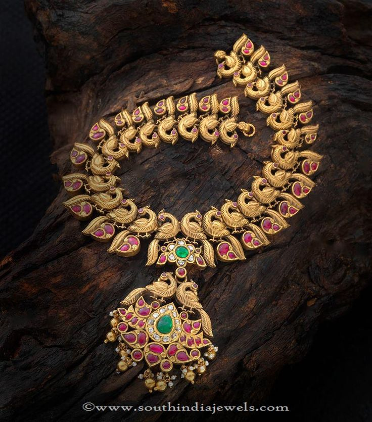 Gold Antique Ruby Peacock Necklace Designs, Gold Ruby Peacock Necklace Designs, 22K Gold Antique Ruby Necklace Designs.