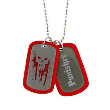 """10% discount for re-pin! $14.50 +S/H from #TheSingingSpaniel's #Collectibles - The #Punisher #Bloody #Skull #Logo #Double #Dog #Tag w/ #Red #Silencer & 22"""" #Shotbead #Ball #Chain #Necklace - #Frank #Castle, #Vigilante #Antihero! - #Silver #Stainless #Tone #Metal - #Officially #Licensed from #Marvel #Universe #Comics by #JewelM! - the #macabre #weapons #loaded #superhero #crimefighter - #Halloween #costumes #cosplay #SDCC #Bling #fashion & #style & #present for #geeks #freaks & #NERDS!"""
