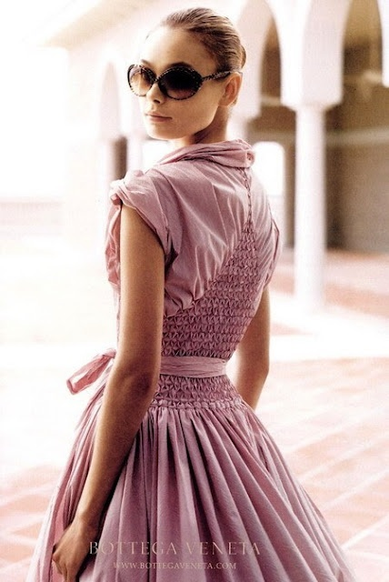 Pretty Botega Veneta dress with smocked details - wonder what the front looks like?