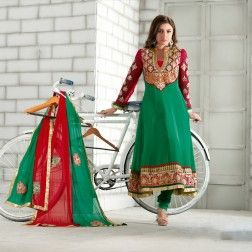 Green Poly Georgette Frock Suit.
