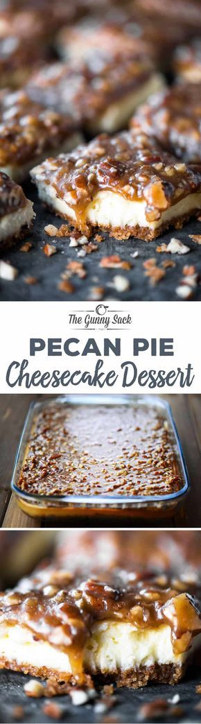 This Pecan Pie Cheesecake Dessert recipe is TO-DIE-FOR with luscious cheesecake on a graham cracker and pecan crust topped with a gooey pecan pie sauce. #cheesecakerecipes #pecanpie