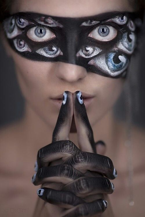 [ http://www.pinterest.com/toddrsmith/boo-who-adult-halloween-ideas/ ] - Eyes Halloween makeup
