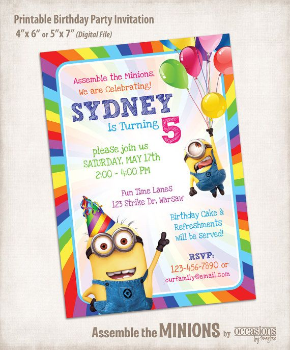 Printable Minion Birthday Invitation from Despicable Me, Digital File, Assemble the Minions on Etsy, $10.00
