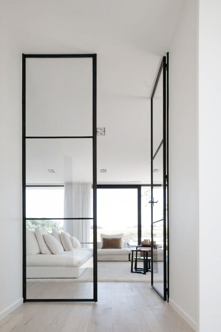 full-height black metal and glass doors - Balegem house / Vekeman Koen Architenbureau