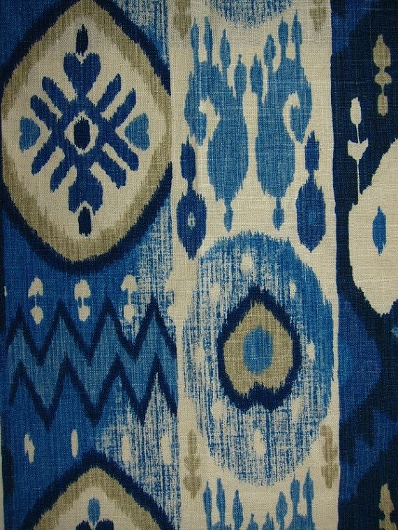 navy blue ikat contemporary indigo blue linen curtains taupe ivory blue ikat for furniture navy blue home decor upholstery fabric - Home Decor Fabrics By The Yard