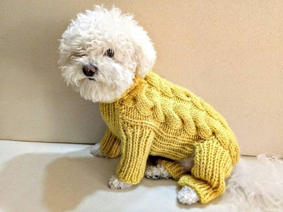 0972128fd4c1 Dog onesie, Hand Knit Dog Overall, Yellow Dog Sweater, Dog clothes ...