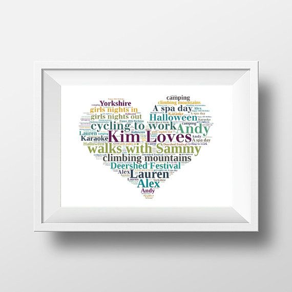 Gift for Best Friend Personalised Loves Heart Print in your choice of words and colours.    Perfect for a bridesmaid gift, BFF present, For your Sister, Mum or anyone you love!     www.pepperdoodles.co.uk
