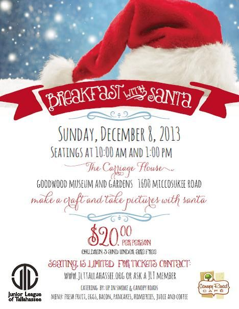 breakfast with santa by junior league of tallahassee on december 8