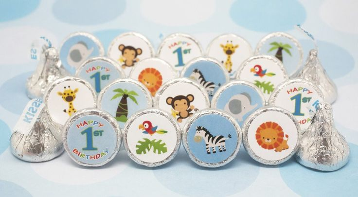 Happy 1st Birthday - Jungle Animals Stickers for Hershey Kisses (Set of 324)