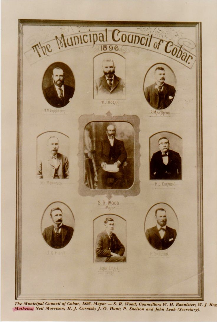 Paddy Mathews, Cobar Council 1896, Top row, first on right. This picture is on the wall of the Mathews receiving room at Cobar House, Bathurst.