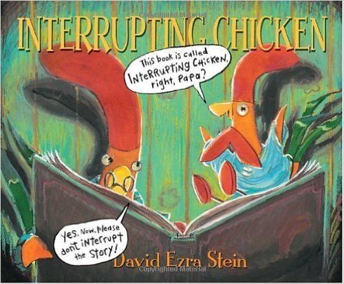 Interrupting Chicken: David Ezra Stein: It's time for the little red chicken's bedtime story—and a reminder from Papa to try not to interrupt. But the chicken can't help herself! She jumps into the story to save its hapless characters from doing some dangerous or silly thing. Now it's the little red chicken's turn to tell a story, but will her yawning papa make it to the end? 9780763641689: Amazon.com: Books