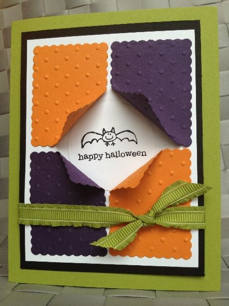 Lime Green Card Base With White Panel On Top Of Black Panel. In The Center. Halloween  CardsFall HalloweenHappy ...