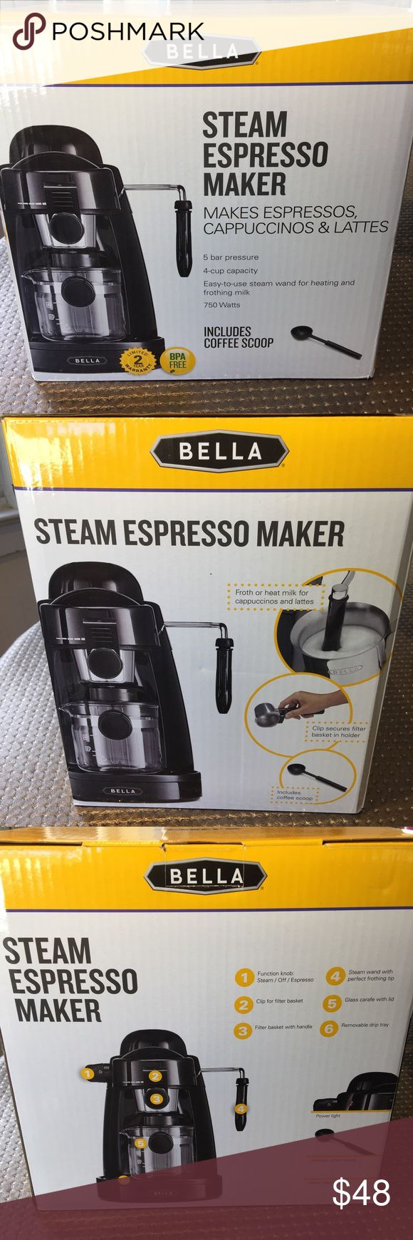 Bella Steam Espresso Maker Spoil your self with this brand new amazingly priced steam espresso maker, don't miss out! Barcode in the bottom of the box is cut off. Other