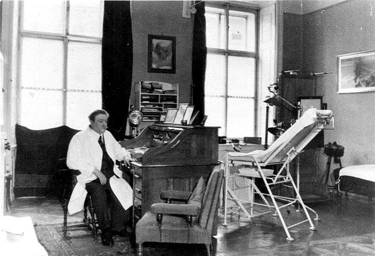 This is Eduard Bloch, the Austrian Jewish physician of the Hitler family in his office c. 1938. Bloch was later called a 'noble Jew' by Hitler and stood under his personal protection. This was his family physician growing up. Hitler had siblings, and parents. This doctor did all he could while they were poor, and when Hitler's mother had cancer. He kindly gave them discounts on medicine, and apparently didn't charge them when they really needed it.