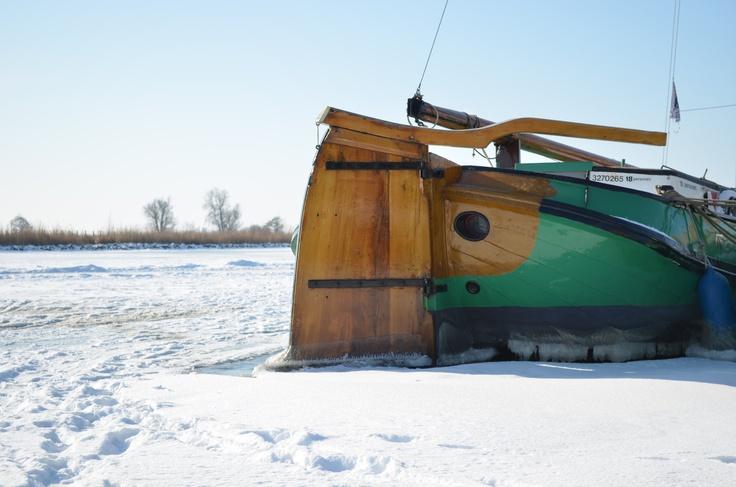 Skutsje (old boat) in Friesland in the Netherlands