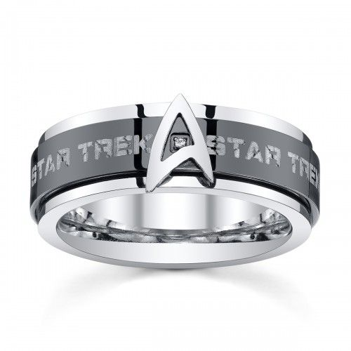 star trek stainless steel black ip spinner band - Star Trek Wedding Ring