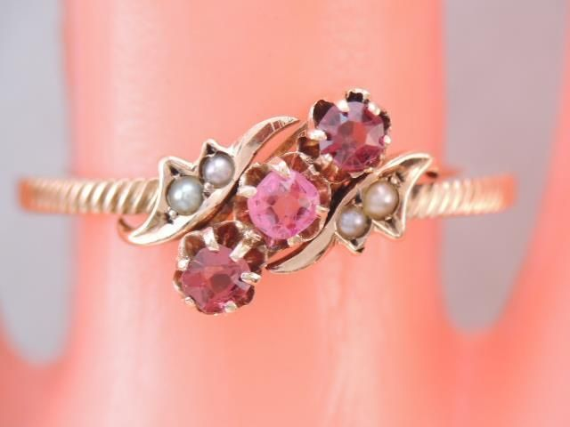 ANTIQUE VICTORIAN 10K SOLID GOLD MINE CUT RUBY SPINEL & SEED PEARL RING $9.99  | eBay