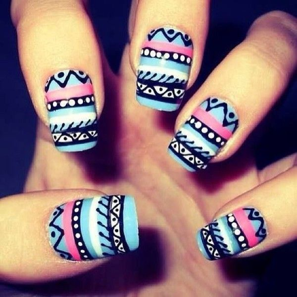 NOTD Aztec Nails! ❤ liked on Polyvore featuring beauty products, nail care, nail treatments, nails, makeup and nail polish
