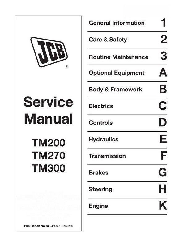 JCB TM200, TM270, TM300 Agricultural Loader Service Manual ... on