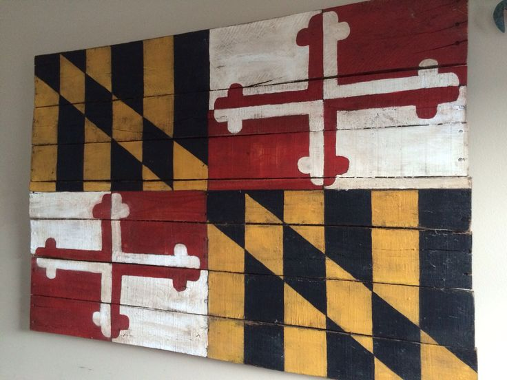 Reclaimed wood pallet Maryland flag. Painted and created by me and Chris... One of my favorite pieces we made together!