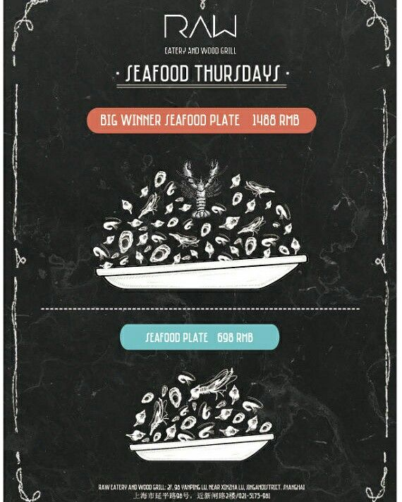 RAW Special Seafood night every Thursday  Tasty high quality and fresh seafood on your dining table #raw #eatery #woodgrill #restaurant #spanish #seafood #thursday #special #menu #delicious #fresh #instafood #instadaily