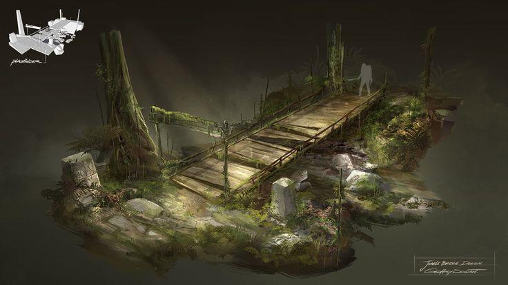 Jungle Bridge Design, Geoffrey Soudant on ArtStation at http://www.artstation.com/artwork/jungle-bridge-design