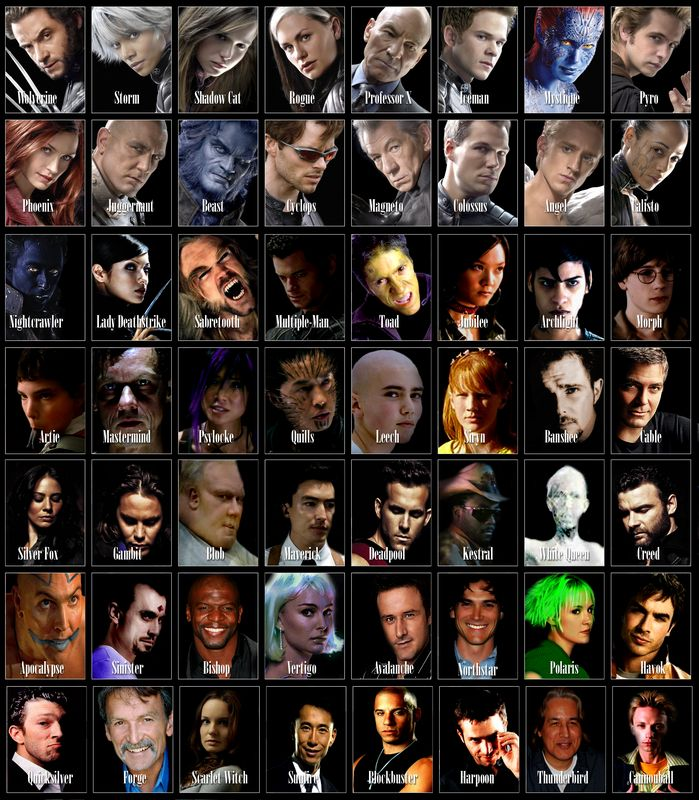 X Men Movie Characters Names With Pictures