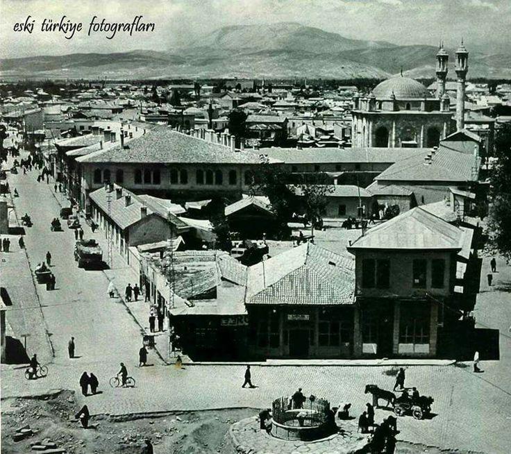Konya Mevlana önünden Aziziye Cami 1969