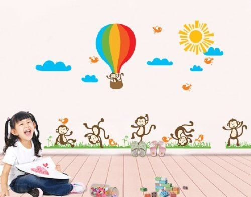 Sumlake Nursery Sunny Day Monkeys Hot Air Balloon Wall Art Stickers Decal for Home D¨¦cor by Sumlake, http://www.amazon.co.uk/dp/B00J1DT75Q/ref=cm_sw_r_pi_dp_Bqnxtb017RS71