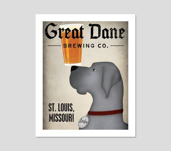 Great Dane Black Custom Personalized Great Dane Brewing