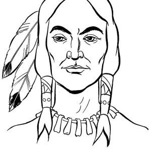 Chief Native American Apache Tribe Coloring Page: Chief