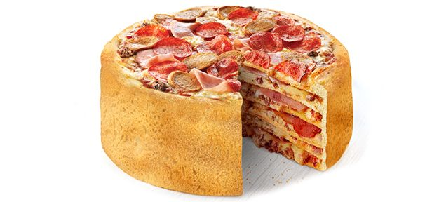 Forget pizza pie; how about pizza cake? Boston Pizza, located in Canada, has invented this super-size super-stuffer. It'll make you John Candy fat if you eat the whole thing!
