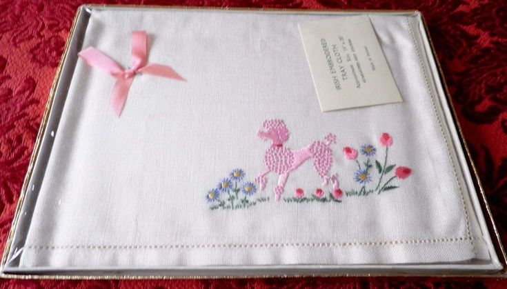 """VINTAGE IRISH LINEN EMBROIDERED TRAY CLOTH 20"""" by 14"""" - PINK POODLE"""