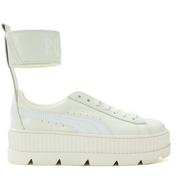 Puma White Fenty X Puma By Rihanna Ankle Strap Sneakers ($190) ❤ liked on Polyvore featuring shoes, sneakers, white, creeper sneakers, puma shoes, velcro shoes, ankle strap shoes and white trainers