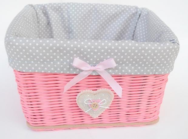 Nežný ružový košík so sivou výstelkou a srdiečkom / Autorka: adriana842 / Artmama.sk