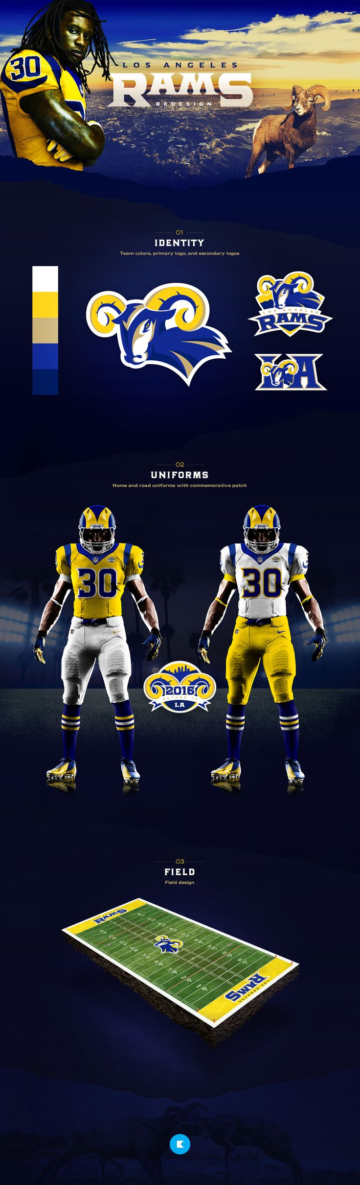 As a welcome back to Los Angeles in 2016, I created an updated look for the Rams. It draws on influences from their past in LA (1946-1994) and also ties in some subtle elements from their stint in St. Louis (1995-2015). Ultimately, I wanted this remixed l…