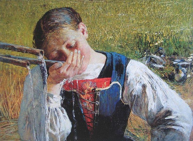 Costume Giorgionese; Giovanni Segantini; 1887; olio su tela; Kunstmuseum, San Gallo (Svizzera). Il messaggio è come al solito legato ad una scena quotidiana. I colori sono accesi, particolari, i capelli sono resi con i toni del blu, dell'arancio, del viola.
